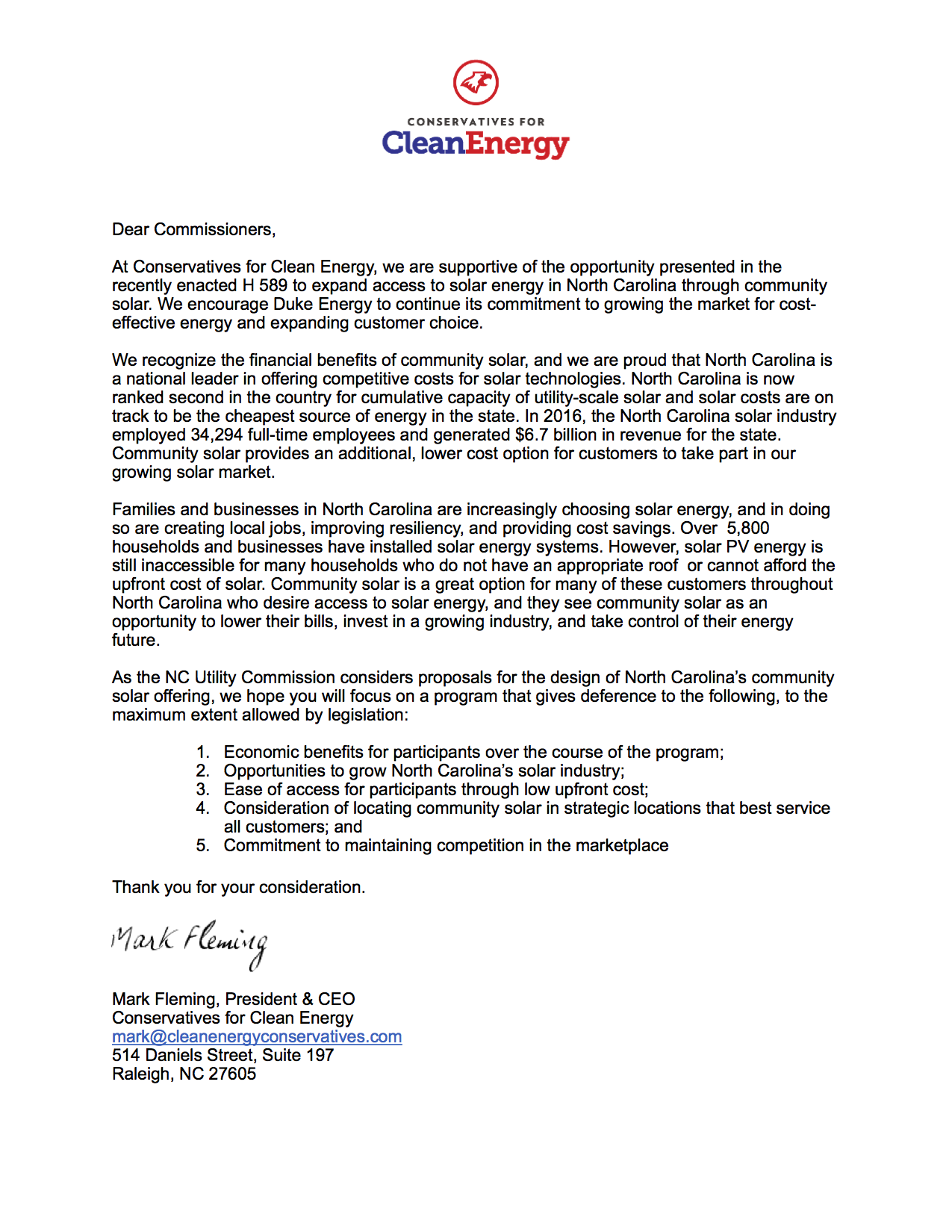 Conservatives for Clean Energy letter to NC Utilities Commission Regarding Community Solar in NC